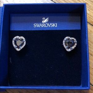 Swarovski Black Heart Earrings